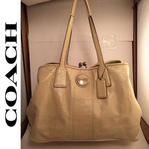 Coach Patent Leather Carryall Tote Handbag F15658